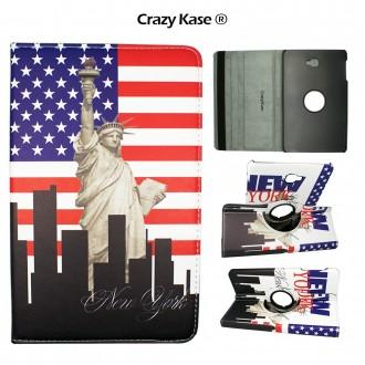 Etui Samsung Galaxy Tab A 10.1 (2016) Rotatif 360° Motif Statue de la liberté - Crazy kase