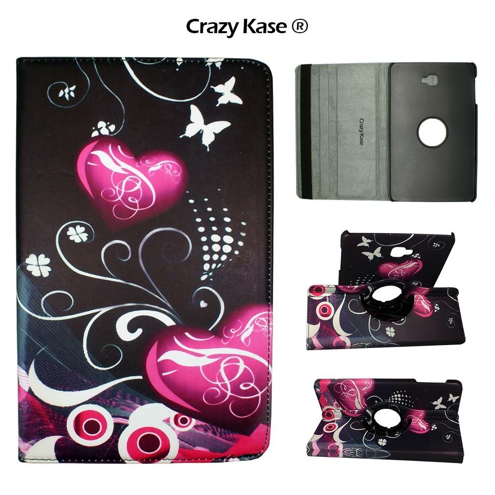 Etui Samsung Galaxy Tab A 10.1 (2016) Rotatif 360° Motif Coeurs et papillons - Crazy kase