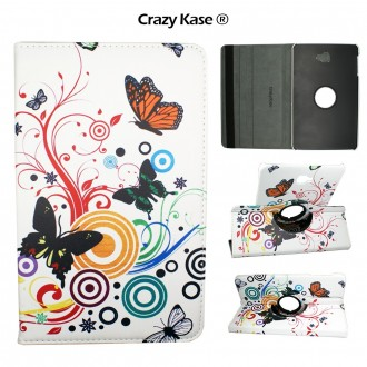 Etui Samsung Galaxy Tab A 10.1 (2016) Rotatif 360° Motif Papillons et cercles - Crazy kase