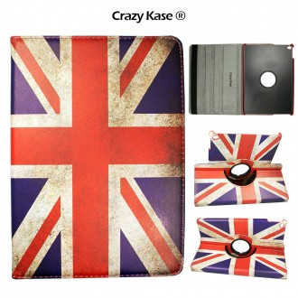 Etui iPad Air 2 rotatif 360° motif drapeau UK - Crazy Kase