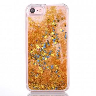 Coque iPhone 8 / iPhone 7 à Paillettes Dorées et Etoiles Bleues - Crazy Kase