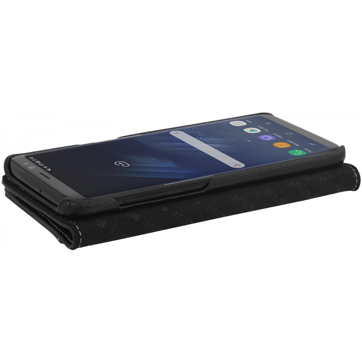 Etui Samsung S8 Porte-cartes grainé noir en cuir véritable - Stilgut