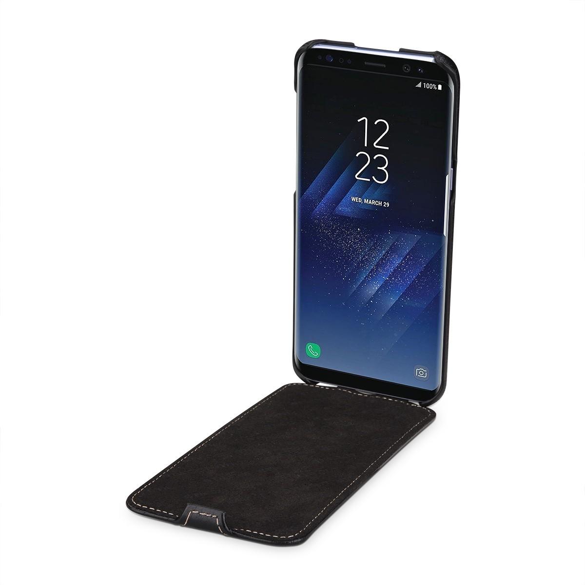 Etui Galaxy S8 Plus UltraSlim Noir en cuir véritable - Stilgut