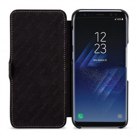 Etui Galaxy S8 book type noir en cuir véritable - Stilgut