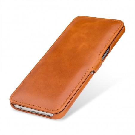 Etui Galaxy S8 Plus book type cognac en cuir véritable - Stilgut
