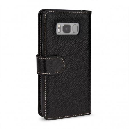 Etui Samsung S8 Plus Porte-cartes grainé noir en cuir véritable - Stilgut