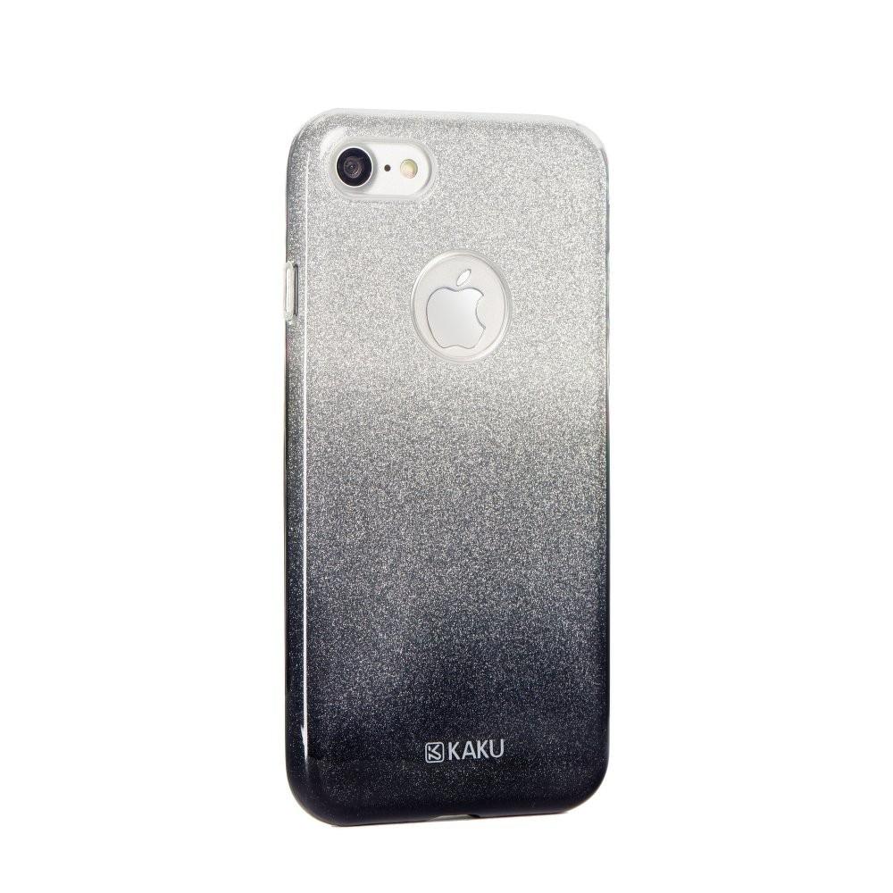 Coque iPhone 7 à paillettes noires et argentées - Kaku