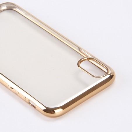 Coque iPhone X Transparente contour Doré - G-Case