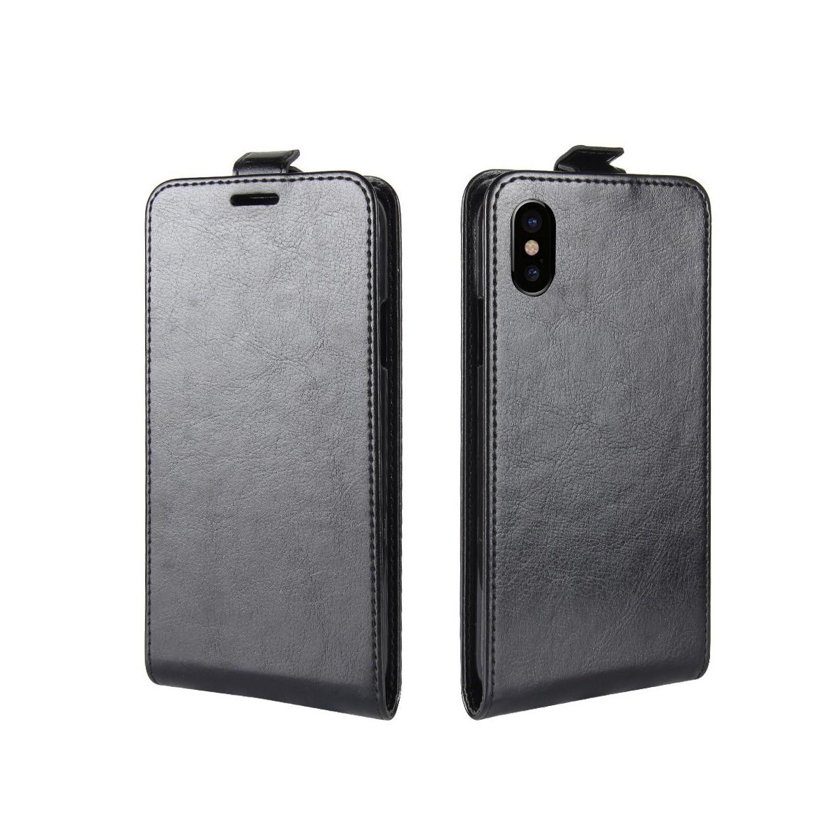 Etui iPhone X Noir ouverture Verticale - Crazy Kase