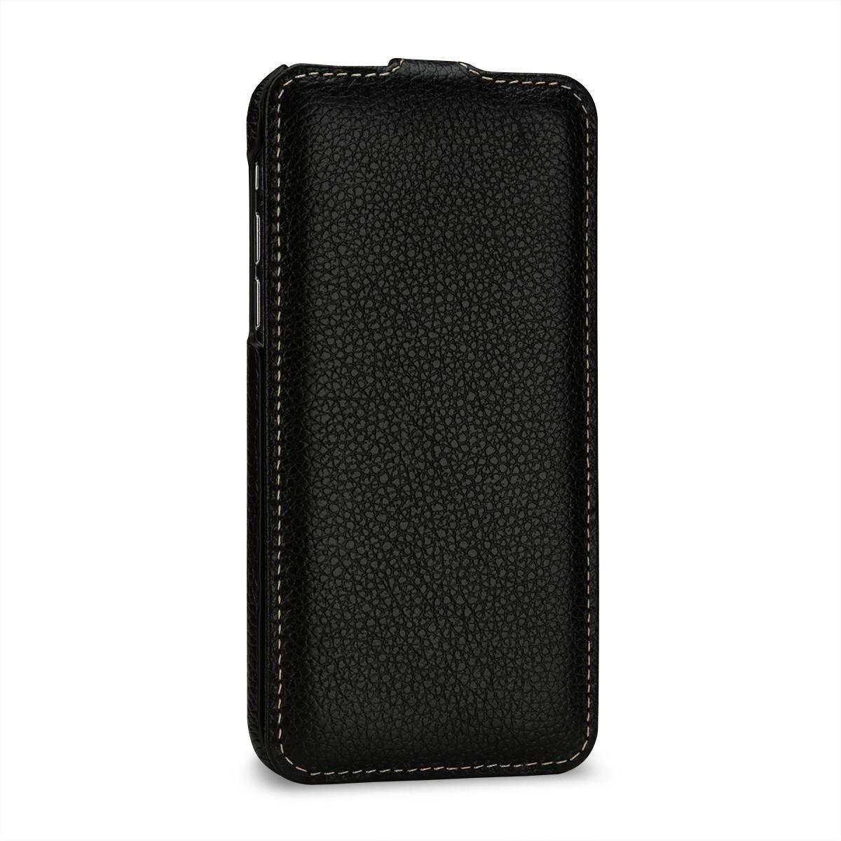 Etui iPhone X ultraslim grainé noir en cuir véritable - Stilgut