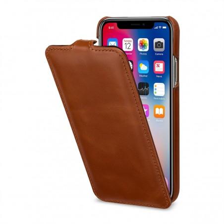 Etui iPhone X ultraslim cognac en cuir véritable - Stilgut