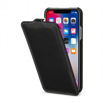 Etui iPhone X ultraslim noir nappa en cuir véritable - Stilgut