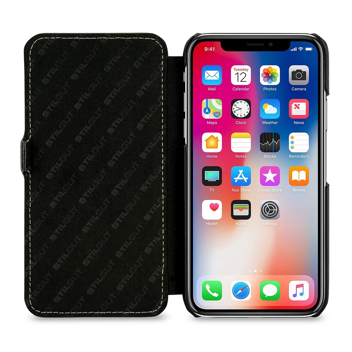Etui iPhone X book type grainé noir en cuir véritable - Stilgut