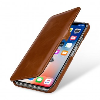 Etui iPhone X book type cognac en cuir véritable - Stilgut