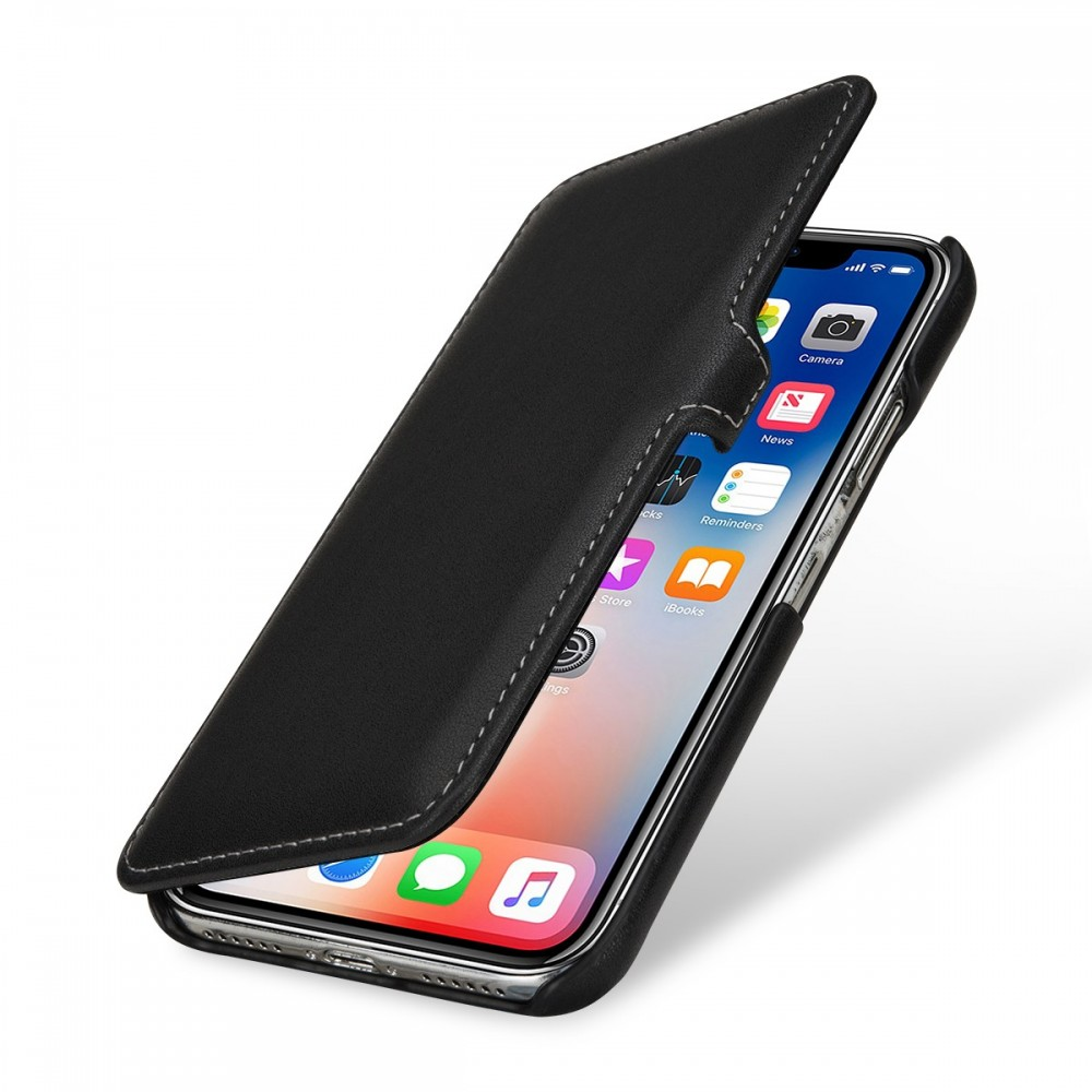 Etui iPhone X book type noir nappa en cuir véritable - Stilgut