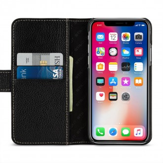 Etui iPhone X Porte-cartes grainé noir en cuir véritable - Stilgut