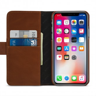 Etui iPhone X Porte-cartes cognac en cuir véritable - Stilgut