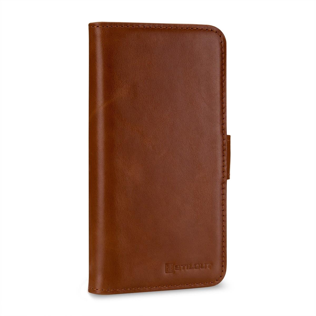 Etui iPhone X Porte-cartes cognac en cuir véritable - Stilgut