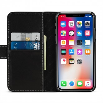 Etui iPhone X Porte-cartes noir nappa en cuir véritable - Stilgut