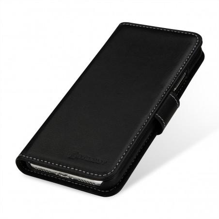 Etui iPhone X Porte-cartes noir nappa en cuir véritable - Stilgut