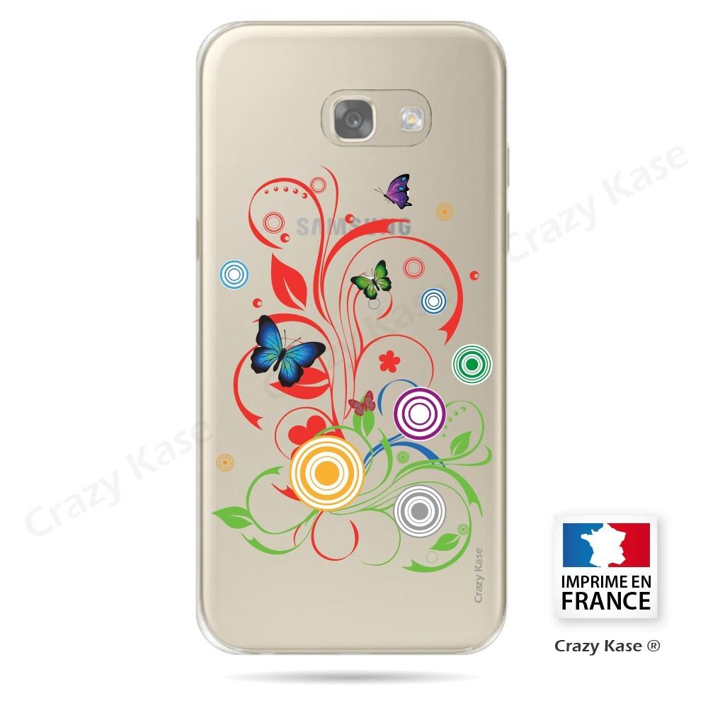 Coque Galaxy A3 (2017) Transparente et souple motif Papillons et Cercles - Crazy Kase