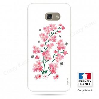 Coque Galaxy A3 (2017) souple motif Fleurs de Sakura sur fond blanc - Crazy Kase