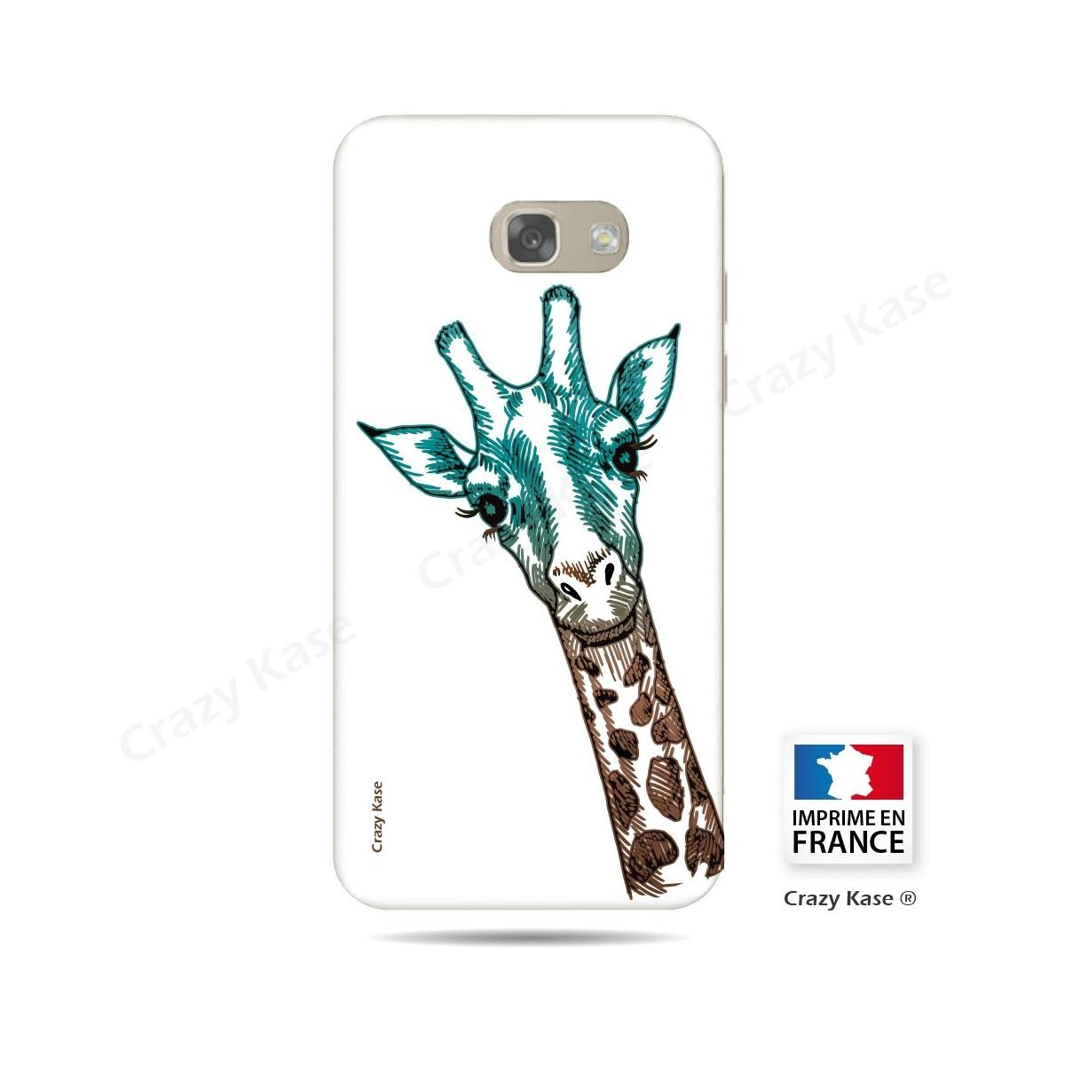 Coque Galaxy A3 (2017) souple motif Tête de Girafe sur fond blanc - Crazy Kase