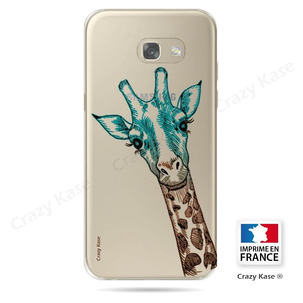 Coque Galaxy A3 (2017) Transparente et souple motif Tête de Girafe - Crazy Kase