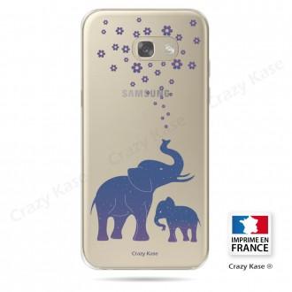 Coque Galaxy A3 (2017) Transparente et souple motif Eléphant Bleu - Crazy Kase