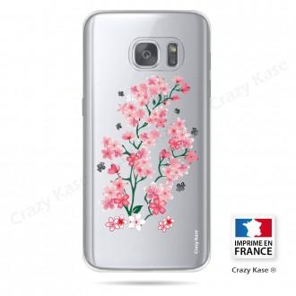 Coque Galaxy S7 Edge Transparente et souple motif Fleurs de Sakura - Crazy Kase