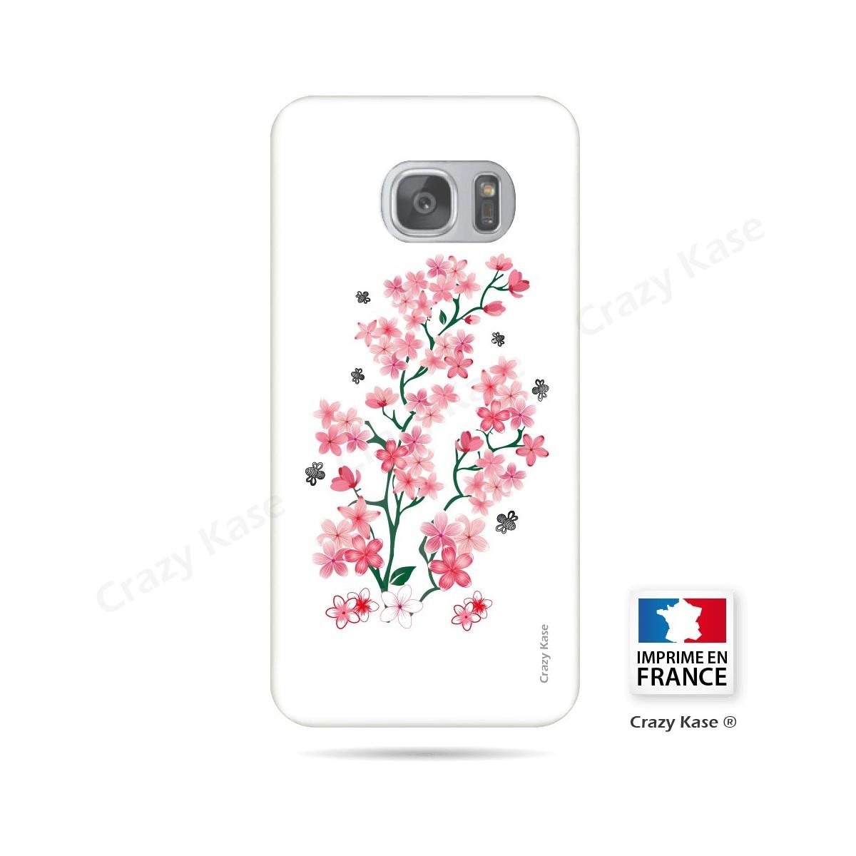 Coque Galaxy S7 Edge souple motif Fleurs de Sakura sur fond blanc - Crazy Kase