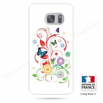 Coque Galaxy S7 Edge souple motif Papillons et Cercles sur fond blanc - Crazy Kase