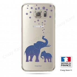Coque Galaxy S6 Transparente et souple motif Eléphant Bleu - Crazy Kase