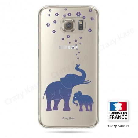 Coque Galaxy S6 Edge Transparente et souple motif Eléphant Bleu - Crazy Kase