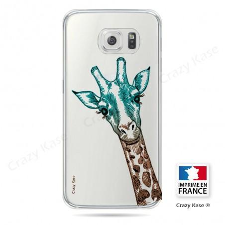 Coque Galaxy S6 Transparente et souple motif Tête de Girafe - Crazy Kase