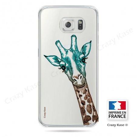 Coque Galaxy S6 Edge Transparente et souple motif Tête de Girafe - Crazy Kase
