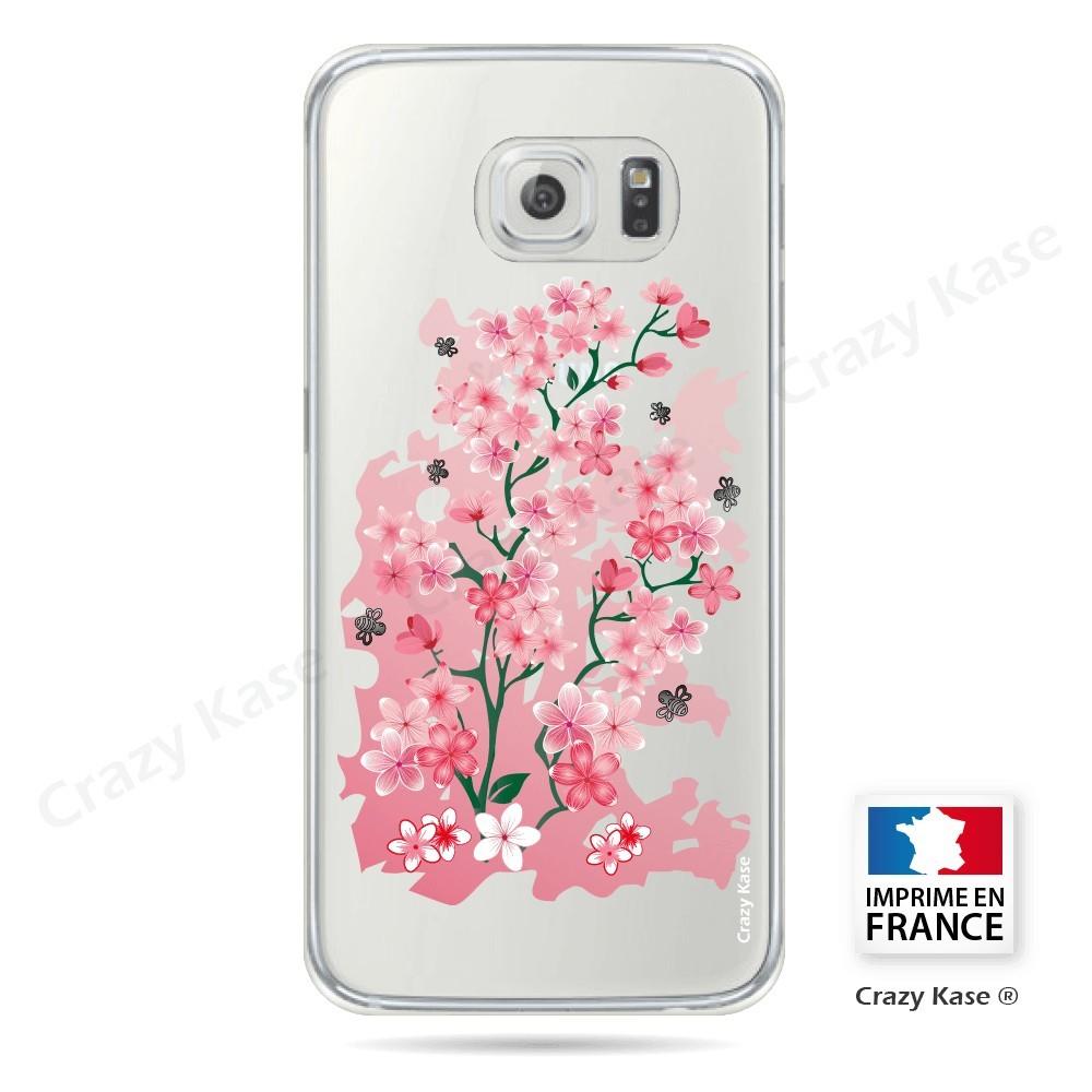 Coque Galaxy S6 Edge Transparente et souple motif Fleurs de Cerisier - Crazy Kase