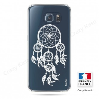 Coque Galaxy S6 Transparente et souple motif Attrape Rêves Blanc - Crazy Kase
