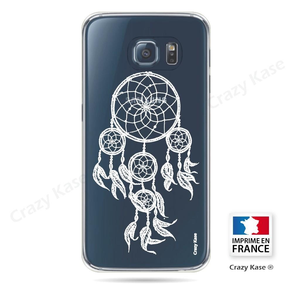 Coque Galaxy S6 Transparente et souple motif Attrape Rêves Blanc - Crazy Kase