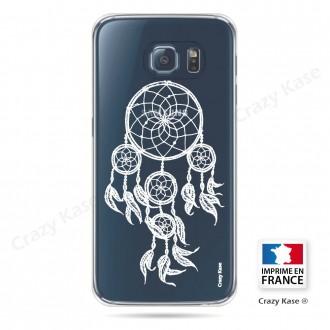 Coque Galaxy S6 Edge Transparente et souple motif Attrape Rêves Blanc - Crazy Kase