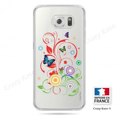 Coque Galaxy S6 Edge Transparente et souple motif Papillons et Cercles - Crazy Kase