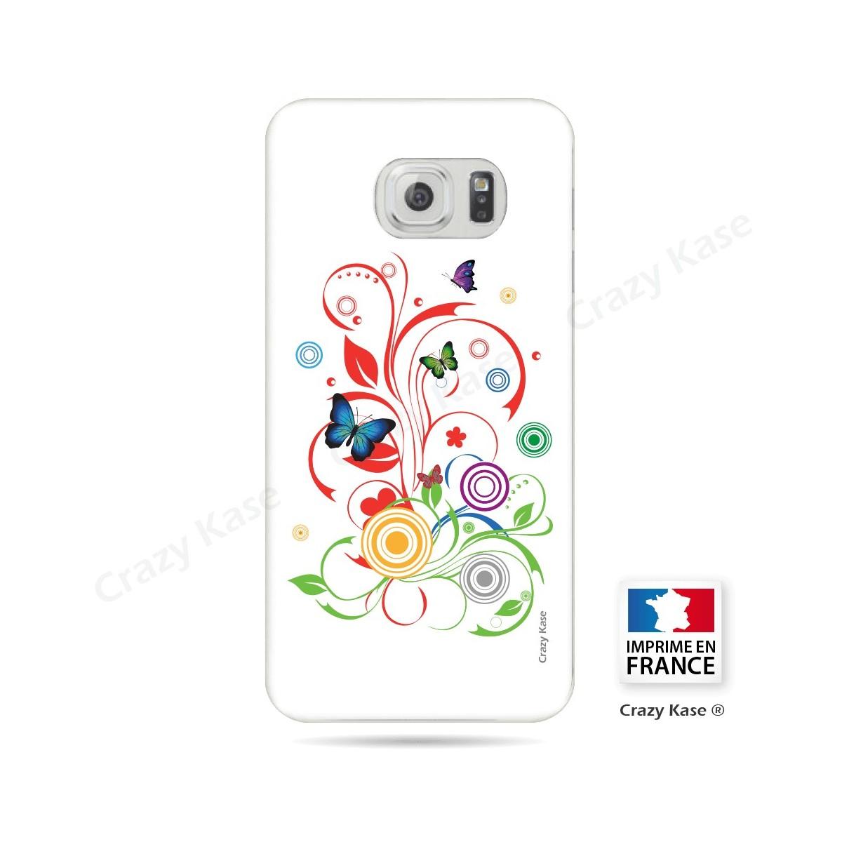 Coque Galaxy S6 Edge souple motif Papillons et Cercles sur fond blanc - Crazy Kase
