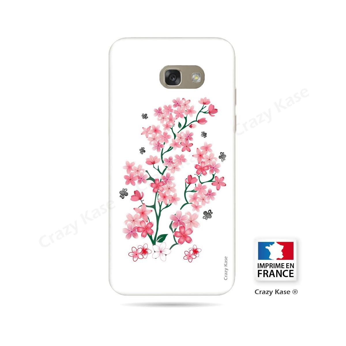Coque Galaxy A3 (2016) souple motif Fleurs de Sakura sur fond blanc - Crazy Kase