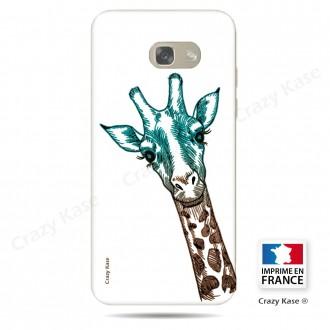 Coque Galaxy A3 (2016) souple motif Tête de Girafe sur fond blanc - Crazy Kase