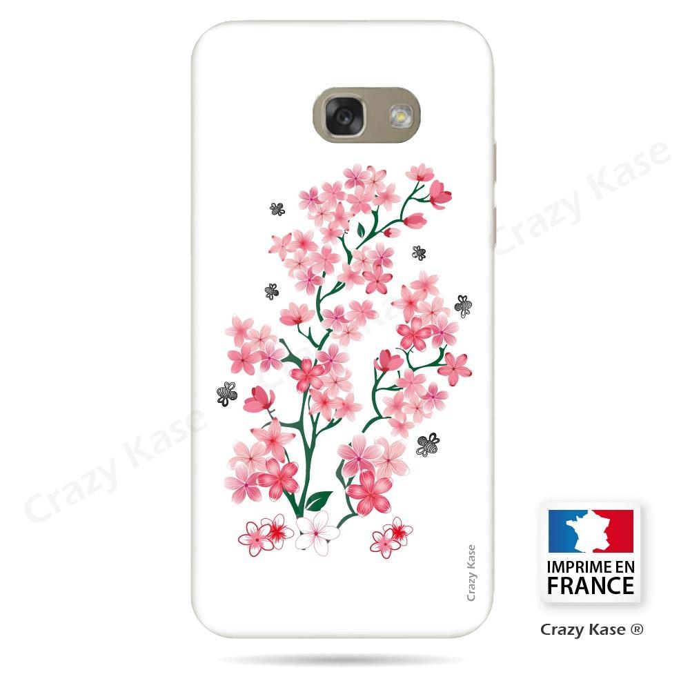 Coque Galaxy A5 (2016) souple motif Fleurs de Sakura sur fond blanc - Crazy Kase