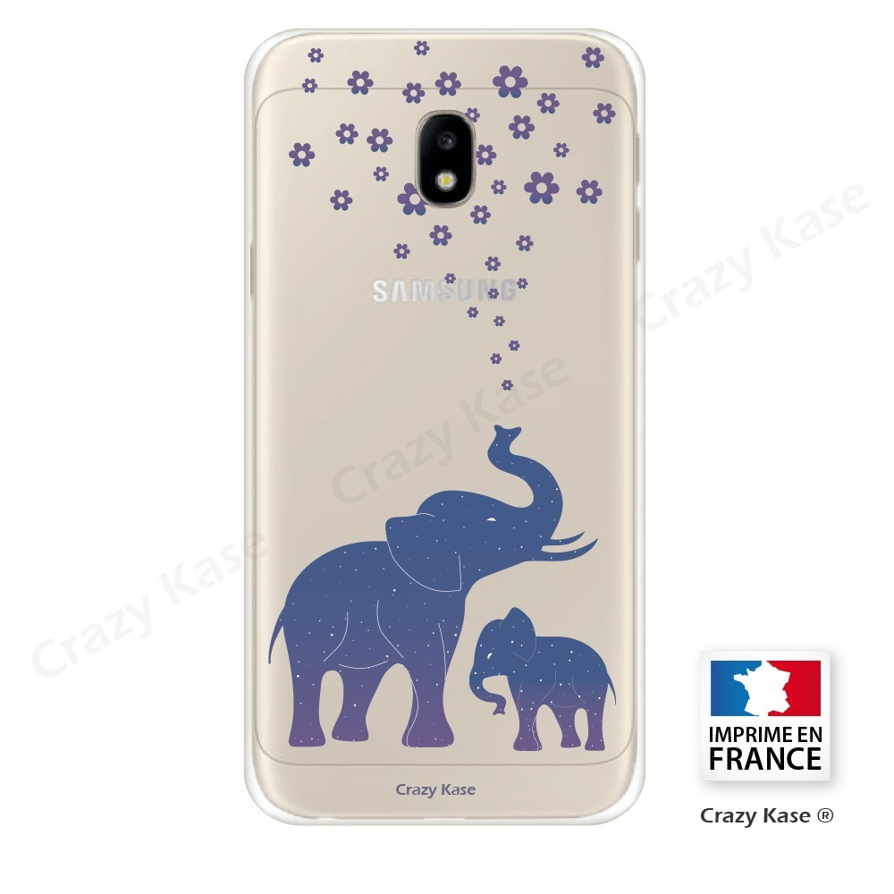 coque galaxy j3 2017 transparente et souple motif el phant bleu crazy kase. Black Bedroom Furniture Sets. Home Design Ideas