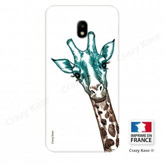 Coque Galaxy J3 (2017) souple motif Tête Girafe sur fond blanc - Crazy Kase