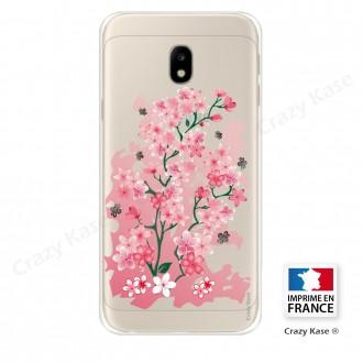 Coque Galaxy J3 (2017) Transparente et souple motif Fleurs de Cerisier - Crazy Kase
