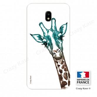 Coque Galaxy J7 (2017) souple motif Tête de Girafe sur fond blanc - Crazy Kase