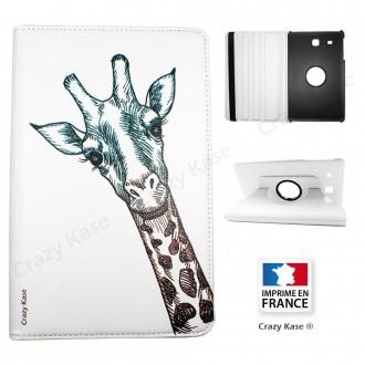 Etui Galaxy Tab E 9.6 Rotatif 360° Blanc motif Tête de Girafe - Crazy Kase